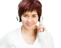Pretty Female in  A Headset Stock Images