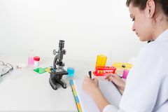 Pretty female health care professional in his working environment lab stock images