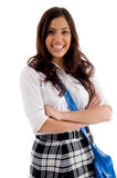 Pretty female with her school bag. With white background stock photo
