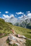 Pretty, female hiker/climber in Swiss Alps stock image
