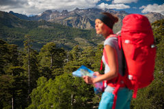 Pretty, female hiker in high mountains Stock Photography