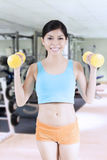 Pretty female lifting two dumbbells Royalty Free Stock Images