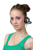 Pretty female listen music Stock Photo