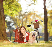 Pretty female lying down with labrador retriever dog in a park Royalty Free Stock Photography