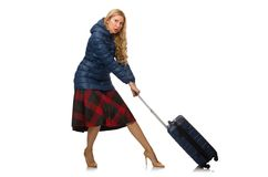 Pretty female model in blue jacket isolated on Stock Photography