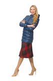Pretty female model in blue jacket isolated on the Stock Image