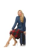 Pretty female model in blue jacket isolated on the Royalty Free Stock Images