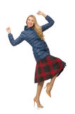 Pretty female model in blue jacket isolated on the Royalty Free Stock Photography