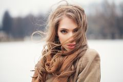 Pretty female model outdoors stock photography