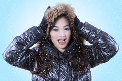 Pretty female model in winter clothing Stock Photo