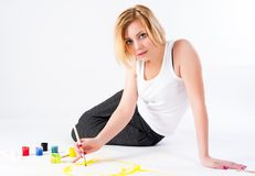 Pretty female painter Royalty Free Stock Image