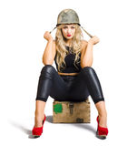 Pretty female pin up soldier on white background Royalty Free Stock Image