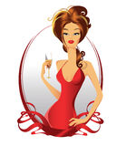 Pretty female in red Royalty Free Stock Images