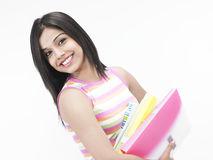 Pretty female secretary with files Stock Images