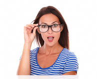 Pretty female smiling and wearing spectacles Royalty Free Stock Photography