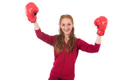 Pretty female sportsman with box gloves isolated Royalty Free Stock Photo