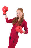 Pretty female sportsman with box gloves isolated Royalty Free Stock Images