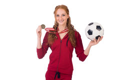 Pretty female sportsman with medal isolated on Royalty Free Stock Image