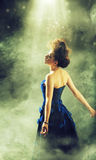 Pretty female star during performance Royalty Free Stock Image