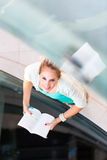Pretty, female student with books Royalty Free Stock Photography