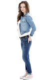 Pretty female student in a denim ensemble Stock Photography