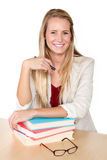 Pretty Female Student Intern With Books Royalty Free Stock Image