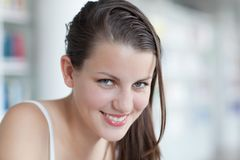 Pretty female student with laptop Royalty Free Stock Images