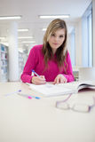 Pretty, female student with laptop and books Royalty Free Stock Photos