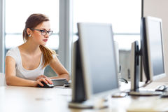 Pretty, female student looking at a desktop computer screen Royalty Free Stock Photos