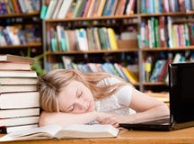 Pretty female student sleep in library stock image