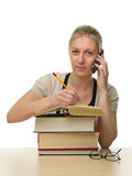 Pretty Female Student with a Stack of Books Stock Photo