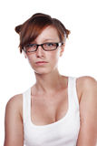 Pretty Female Student wearing glasses Stock Photo