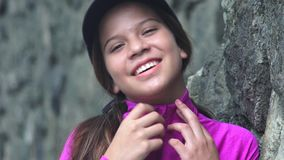 Pretty Female Teen Smiling stock footage