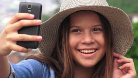 Pretty Female Teen Taking Selfy Royalty Free Stock Photos