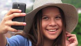Pretty Female Teen Taking Selfy stock video footage