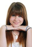 Pretty female teenager smiling isolated Royalty Free Stock Photography