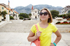 Pretty female tourist attractions looks Royalty Free Stock Photo