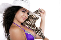 Pretty female wearing a bikini and sun hat Stock Photography