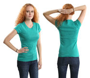 Pretty female wearing blank green shirt royalty free stock photo