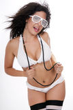 Pretty female in white bikini Royalty Free Stock Photography