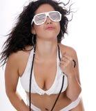 Pretty female in white bikini swimwear Stock Photos
