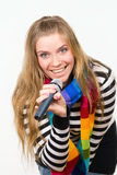 Pretty Female With Microphone Isolated Royalty Free Stock Photography