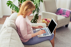Pretty female working in laptop while sitting on cozy sofa Royalty Free Stock Photo