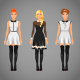 Pretty females in black and white collar dresses Royalty Free Stock Image