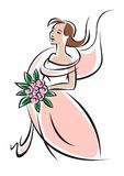 Pretty feminine bride or bridesmaid in pink dress Stock Photography
