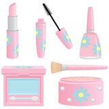 Pretty Feminine Cosmetics. A selection of cosmetics in feminine pink containers decorated with flowers. Includes lipstick, mascara, nail polish, eyeshadow and Royalty Free Stock Photos