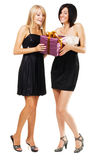 Pretty festive girls with a gift box Royalty Free Stock Photography