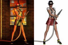 Pretty Firefighter. 3D Render of an Pretty Firefighter Royalty Free Stock Photo