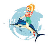Pretty Fish Rider Royalty Free Stock Photography