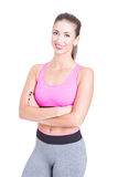 Pretty fit girl or fitness instructor posing Stock Images